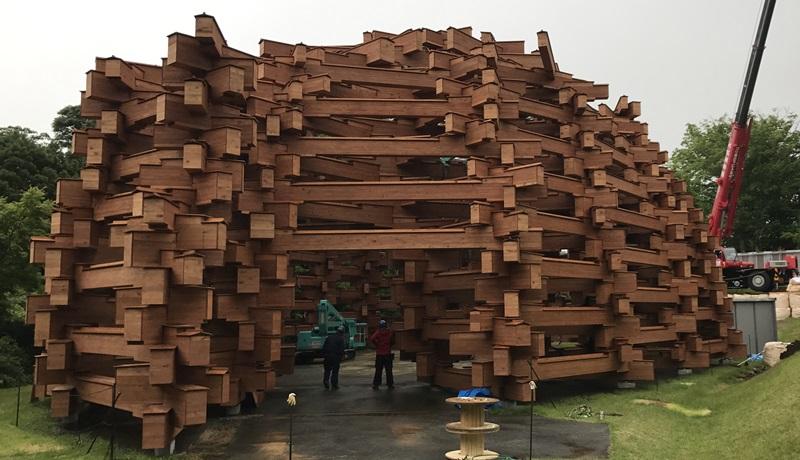 箱根 彫刻の森美術館 雪あかり取付け工事 (9)