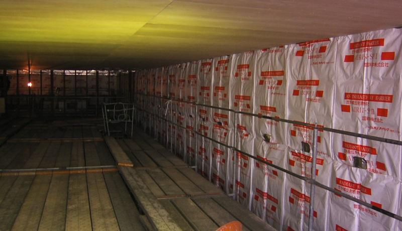 貯蔵庫天井コンパネ張り